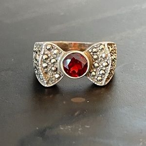 Sterling silver and cz red ring
